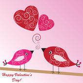 Valentine's background with birds and hearts — Stock Photo