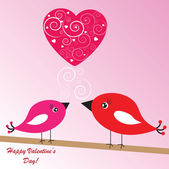 Valentine's background with birds and heart — Stock Photo