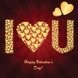 Valentine's background with golden hearts — Stock Photo