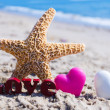 "Sign ""LOVE"" with starfish and hearts on the beach — Stock Photo"