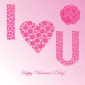Valentine's background with floral heart — Stock Photo