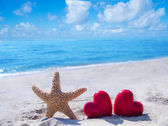 Starfish with hearts by the ocean — Stock Photo