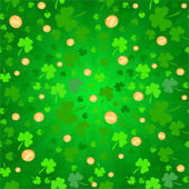 Clovers and coins background on St. Patrick's Day — Stok fotoğraf