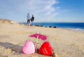 Heart shapes by the ocean — Stock Photo