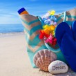 Beach bag with flip flops by ocean — Stock Photo #41240801