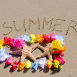 "Sign ""Summer"" on sandy beach with starfishes — Stock Photo #41240869"