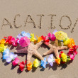 "Sign ""Vacation"" on sandy beach with starfishes — Stock Photo #41240891"