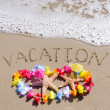 "Sign ""Vacation"" on sandy beach with starfishes — Stock Photo #41240903"