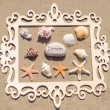 Starfishes and seashell with frame on the sandy beach — Stock Photo