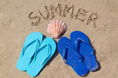 Summer background with flip flops — Stock Photo