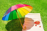 Umbrella and strawberry on the grass — Stock Photo