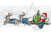 Santa Claus rides on a sleigh with Christmas tree — Stock Vector