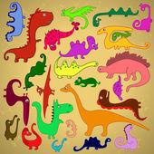 多彩多姿的恐龙 — 图库矢量图片
