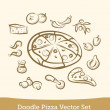 Doodle pizza set — Stock Vector #26049765