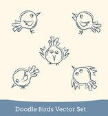 Doodle pták sada — Stock vektor