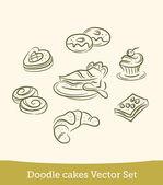 Doodle cake set — 图库矢量图片