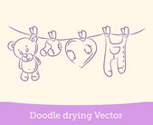 Doodle drying — Stock Vector