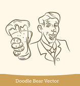 Doodle man with a beer — Stockvektor