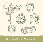 Doodle clock set — Stock Vector