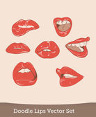 Set of different lips, illustration — ストックベクタ
