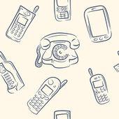 Seamless pattern. doodle phone set — Stock Vector