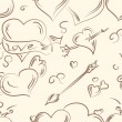Valentine Doodles set .Seamless pattern — Stock Vector