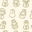 Vettoriale Stock : Seamless pattern. doodle profession set