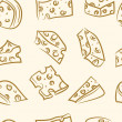 Seamless pattern. doodle cheese set - Stock Vector