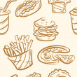 Seamless pattern. doodle fast food set — Stock Vector #26050965