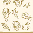 Royalty-Free Stock Obraz wektorowy: Doodle food set