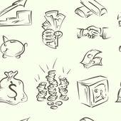 Seamless pattern. finance doodle set — Stock Vector