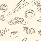Seamless pattern. doodle sushi set — Stock Vector