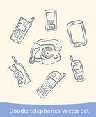 Doodle phone set — Stock Vector