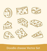 Doodle cheese set — Stock Vector