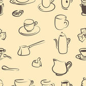 Coffee doodle vector set .Seamless pattern — Stock Vector