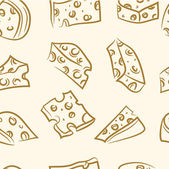 Seamless pattern. doodle cheese set — Stock Vector