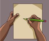 African American hand writes — Stock Vector