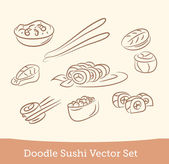 Doodle sushi set — Stock Vector