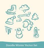 Doodle winter set — Stock Vector
