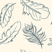 Seamless pattern. doodle feather set — Vector de stock