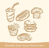 Doodle fast food set — Stock Vector