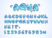 Alfabeto do aqua doodle — Vetorial Stock