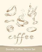 Coffee doodle vector set — Stock Vector