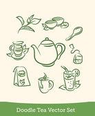 Doodle tea set — Stock Vector