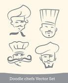 Doodle chefs set — Stock Vector