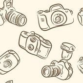 Seamless pattern. photo camera set — Stock Vector