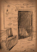 Vintage paper with a sketch of interior — Stock Photo