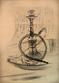 Vintage paper with a sketch of a hookah — Stock Photo