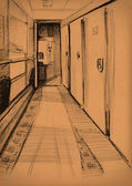Vintage paper with a sketch of interior of the train — Stock Photo