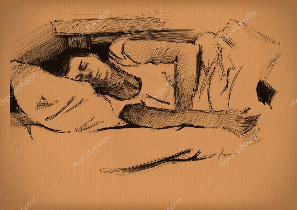 复古的睡觉的女孩素描纸